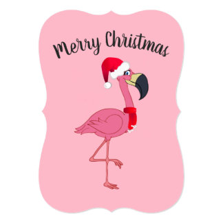 Christmas Pink Flamingo Flat Card w/Envelope