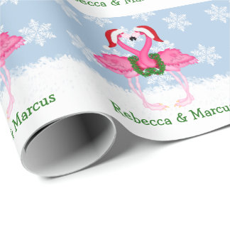 Christmas Pink Flamingo Wearing Santa Hats Wrapping Paper