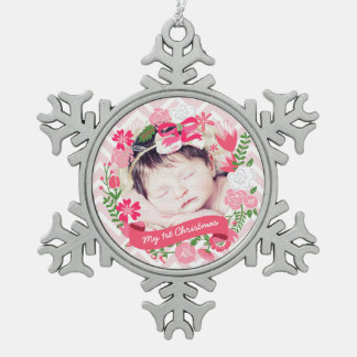 Christmas Pink Floral Wreath Photo Personalized Pewter Snowflake Ornament