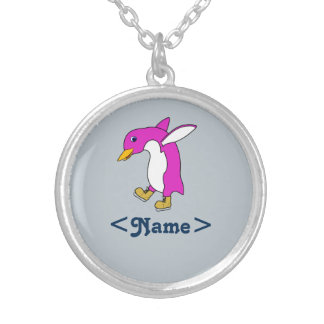 Christmas Pink Penguin with Gold Ice Skates Round Pendant Necklace