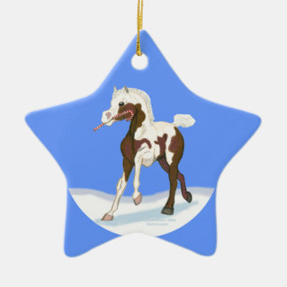 Christmas Pinto Foal Ceramic Star Ornament