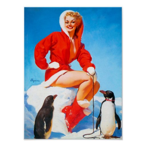 Christmas Pinup with Penguins! Posters