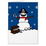 Christmas Pirate Snowman Greeting Card