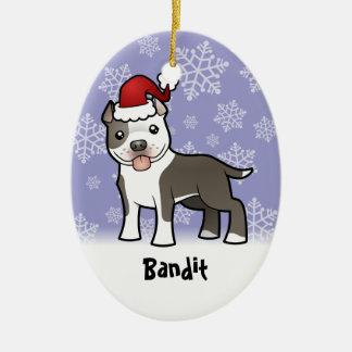 Christmas Pitbull / American Staffordshire Terrier Ceramic Oval Ornament