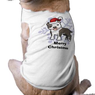 Christmas Pitbull / American Staffordshire Terrier Dog Tshirt