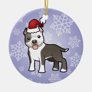 Christmas Pitbull / American Staffordshire Terrier Round Ceramic Ornament