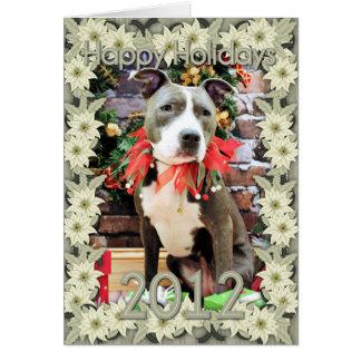 Christmas - Pitbull - Charm Greeting Card