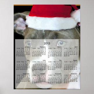 Christmas pitbull dog print