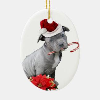 Christmas pitbull puppy ceramic oval ornament