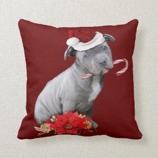 Christmas pitbull puppy throw pillow