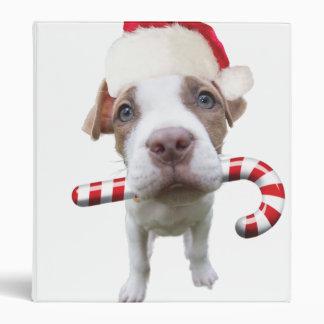 Christmas pitbull - santa pitbull -santa claus dog 3 ring binder
