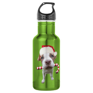Christmas pitbull - santa pitbull -santa claus dog 532 ml water bottle