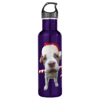 Christmas pitbull - santa pitbull -santa claus dog 710 ml water bottle