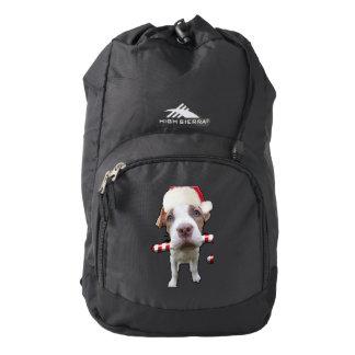 Christmas pitbull - santa pitbull -santa claus dog backpack