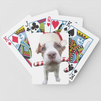 Christmas pitbull - santa pitbull -santa claus dog bicycle playing cards
