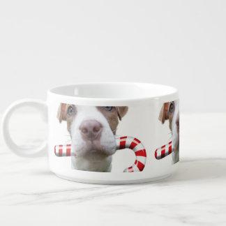 Christmas pitbull - santa pitbull -santa claus dog bowl