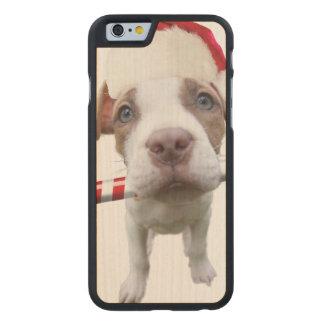 Christmas pitbull - santa pitbull -santa claus dog carved maple iPhone 6 case