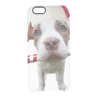 Christmas pitbull - santa pitbull -santa claus dog clear iPhone 6/6S case