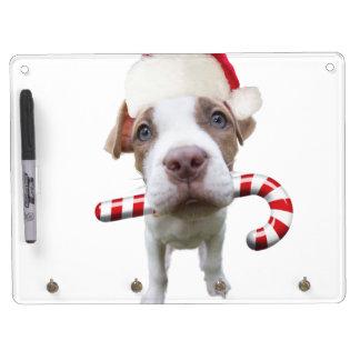 Christmas pitbull - santa pitbull -santa claus dog dry erase board with keychain holder