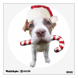 Christmas pitbull - santa pitbull -santa claus dog wall sticker