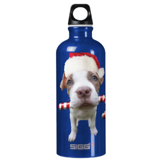 Christmas pitbull - santa pitbull -santa claus dog water bottle