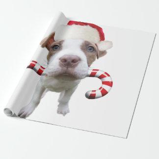 Christmas pitbull - santa pitbull -santa claus dog wrapping paper