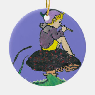 ~ Christmas Pixie Old Illustration ~ Ceramic Ornament
