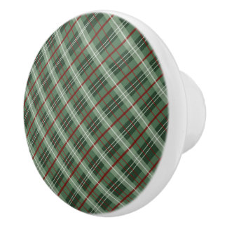 Christmas Plaid Ceramic Knob