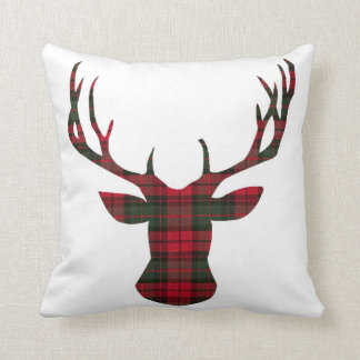 Christmas Plaid Deer head Holidays Pillow