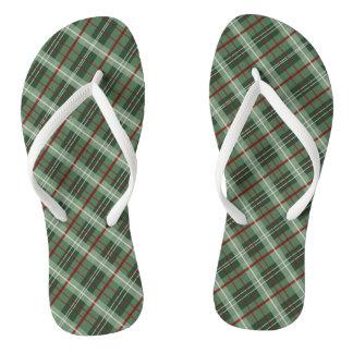 Christmas Plaid Flip Flops