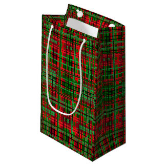 Christmas plaid gift bag