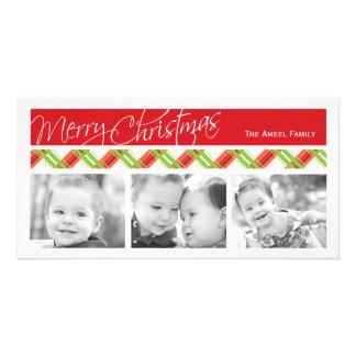 Christmas Plaid Holiday Three Photo Card