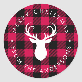 Christmas Plaid Pattern and Deer Classic Round Sticker