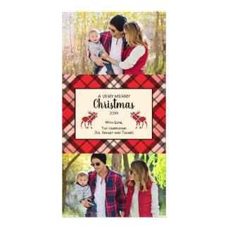 Christmas Plaid photo card with Moose