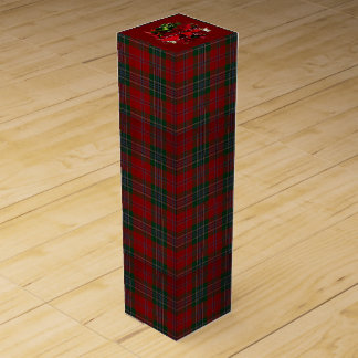 Christmas Plaid poinsettia Wine Gift Box
