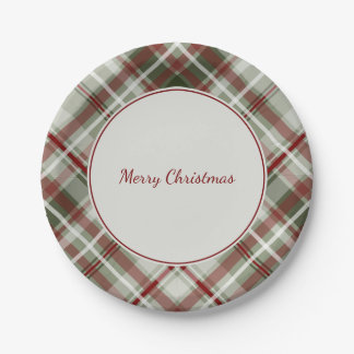 Christmas plaid red green and white 7 inch paper plate