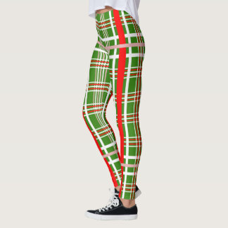 Christmas Plaid - Red White & (Your Colour / Leggings