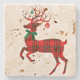 Christmas Plaid Reindeer w Ornament Antlers! Stone Coaster