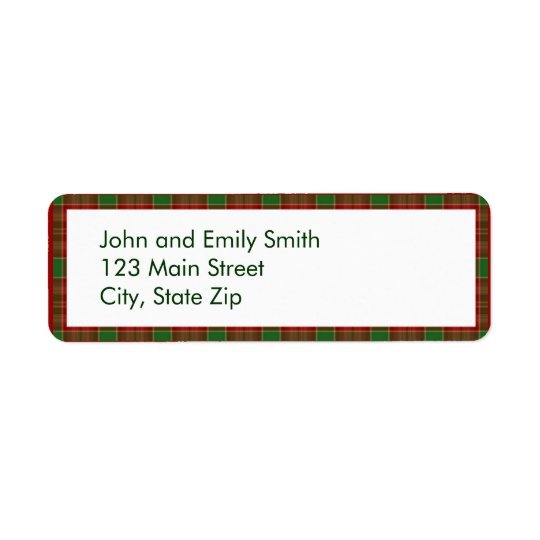 Christmas Plaid Return Address Labels