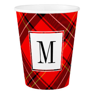 Christmas Plaid with Family Monogram Paper Cup