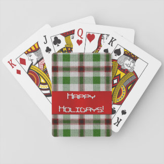 Christmas Plaid With Red Ribbon Playing Cards