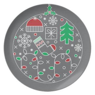 CHRISTMAS  PLATE.  SNOWFLAKES AND CHRISTMAS TREE PLATE