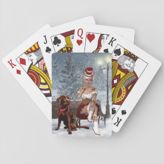 Christmas Playing Cards with Sexy Woman