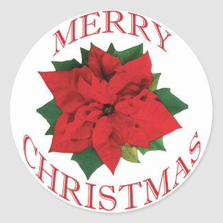 Christmas Poinsetta Round Sticker