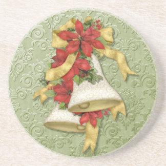 Christmas Poinsettia Bells Coaster