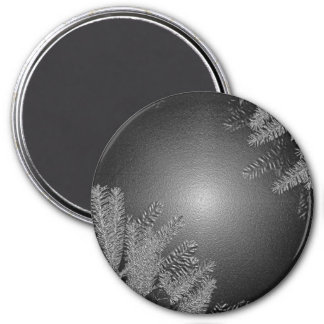 Christmas Poinsettia Black And Grey Magnets