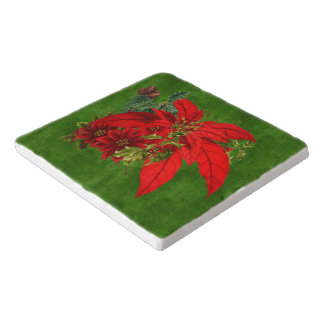Christmas Poinsettia Bouquet with Green Holiday Trivet