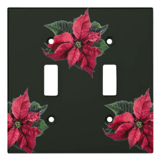 Christmas Poinsettia Double Light Switch Cover