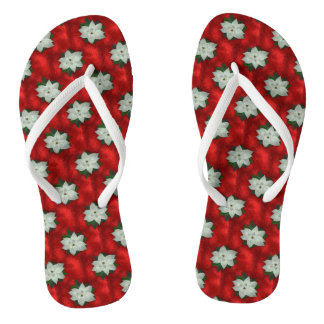 Christmas Poinsettia Flip Flops