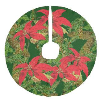 Christmas Poinsettia Flowers Pine Tree Tree Skirt